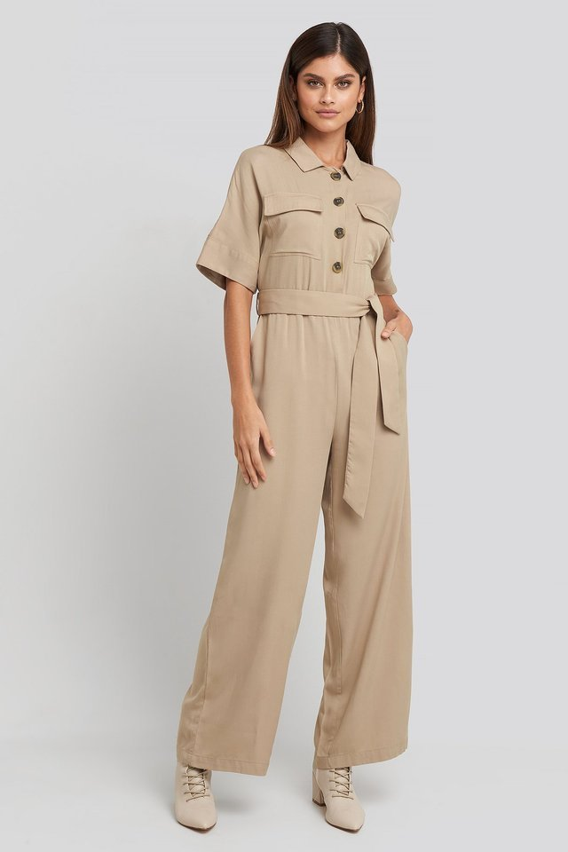 Chest Pocket Buttoned Jumpsuit Outfit.