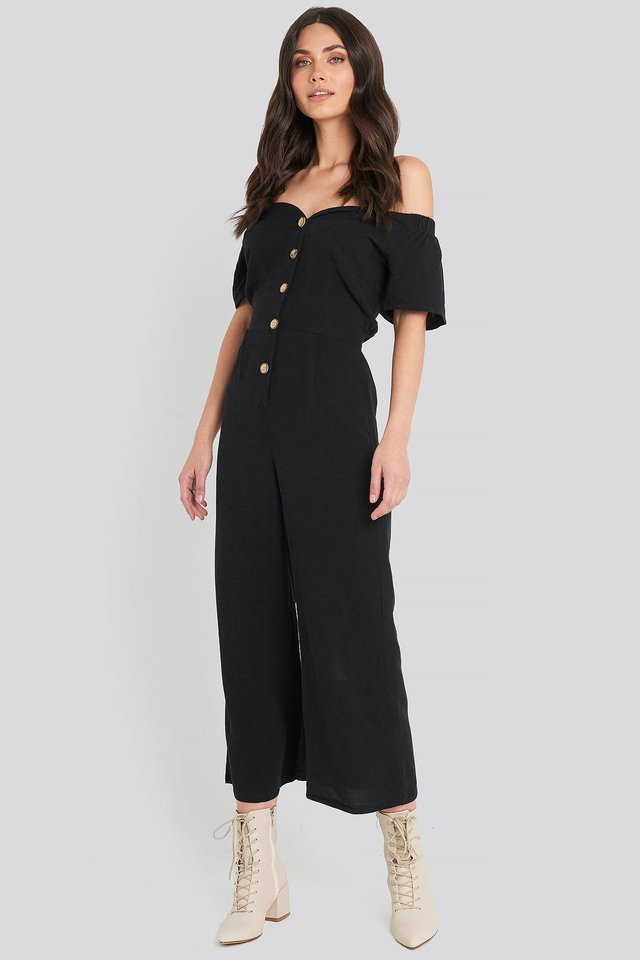 Off Shoulder Button Detailed Jumpsuit Outfit.