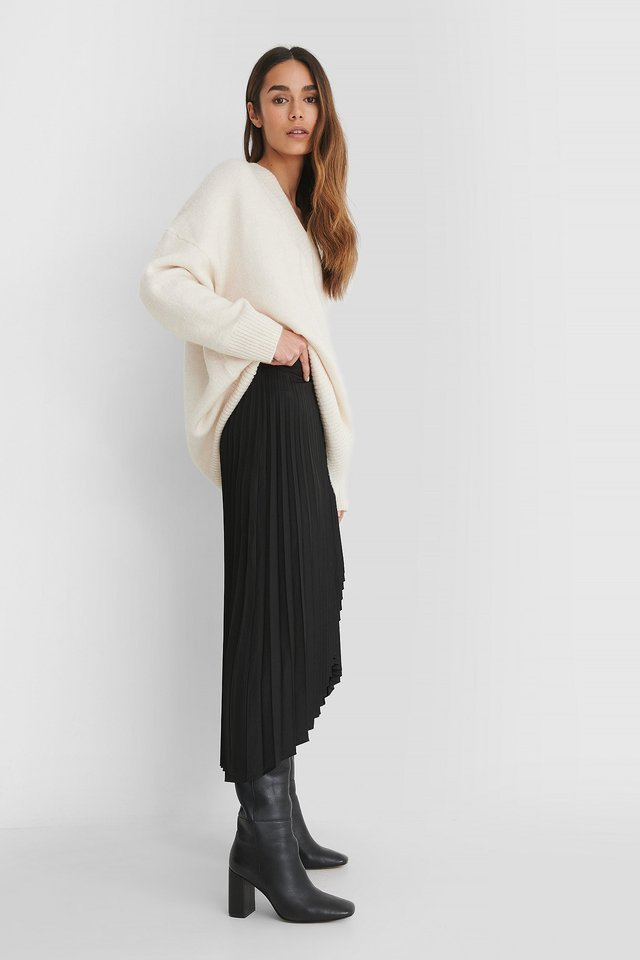Wrap Pleated Midi Skirt Outfit.