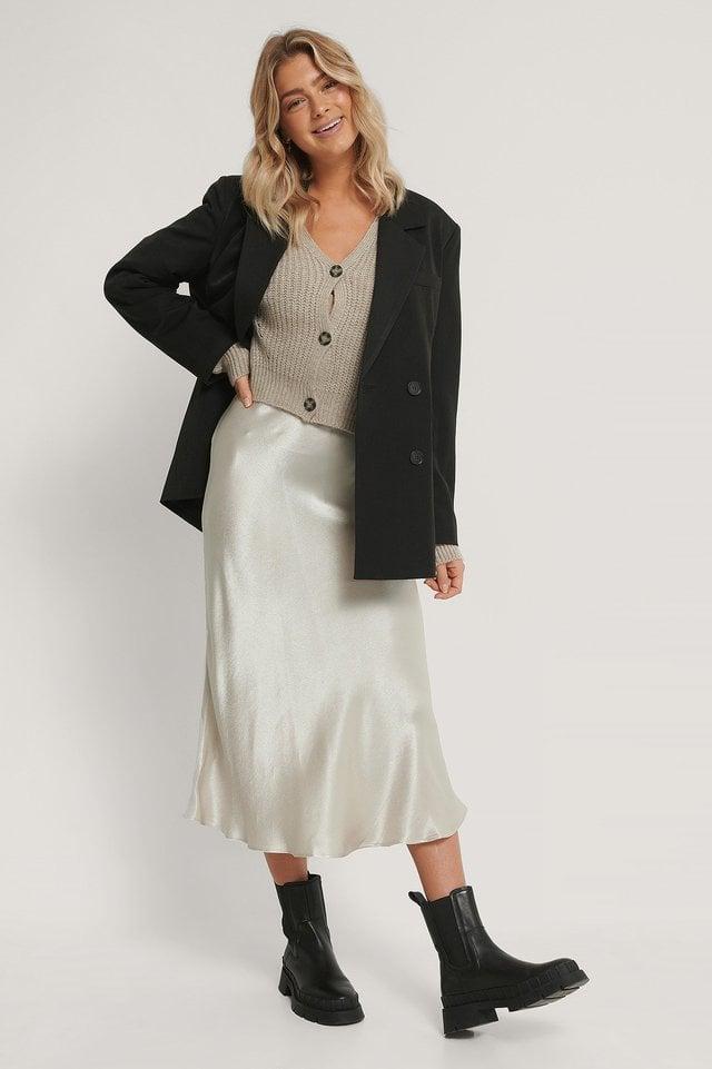 Satin Midi Skirt Outfit.
