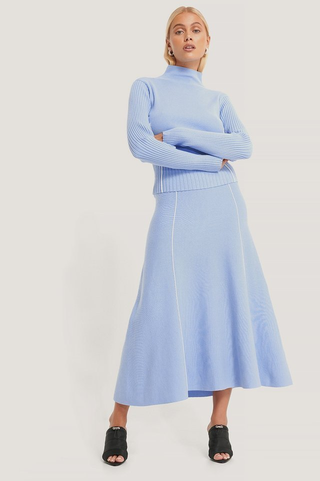 Light Knit Seam Detail Skirt Outfit.