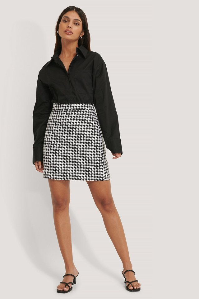 A-line Houndstooth Skirt Outfit.