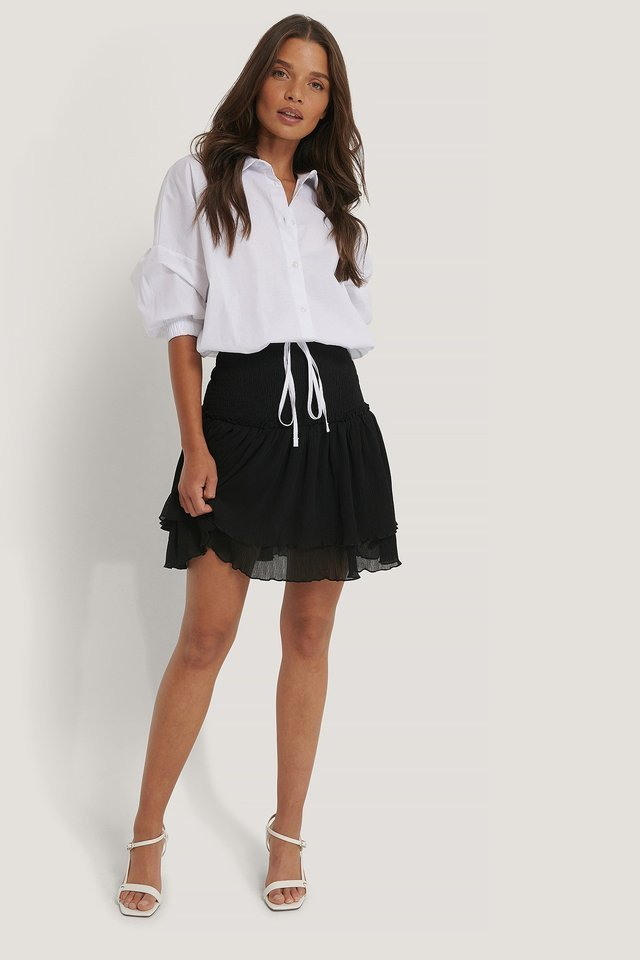 Mini Structured Smocked Skirt Outfit.