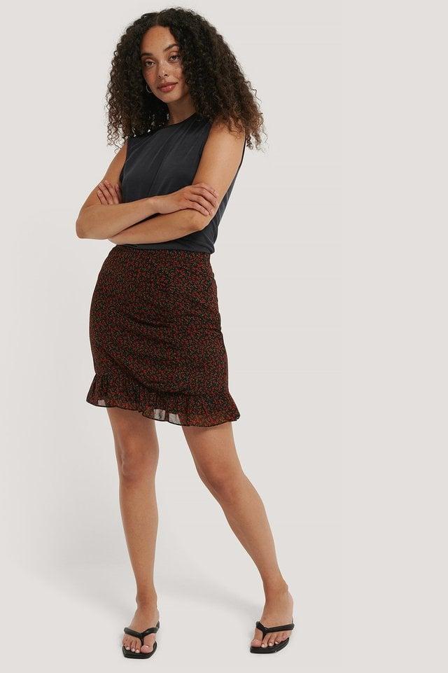 Sheer Flounce Mini Skirt Outfit.