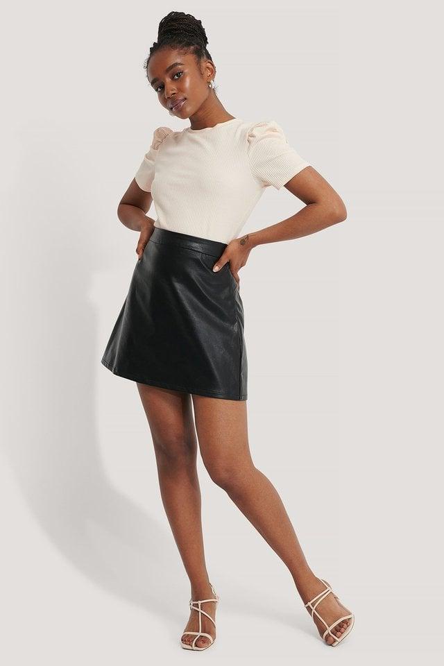 A-line PU Mini Skirt Outfit.