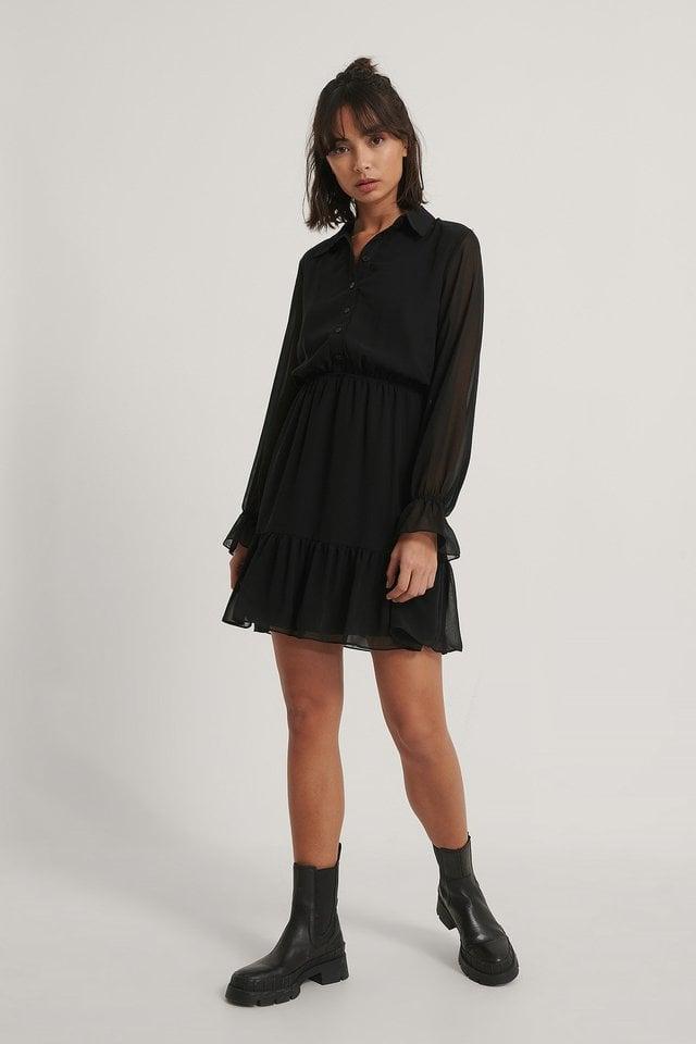 Shirt Collar Mini Dress Outfit.