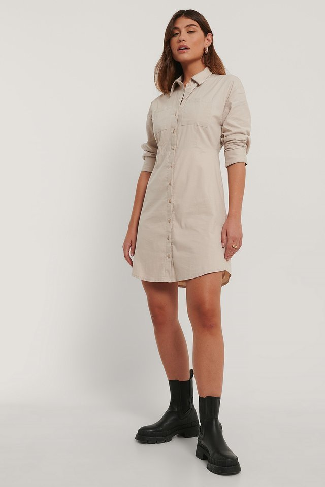 Cream Shirt Dress Outfit.