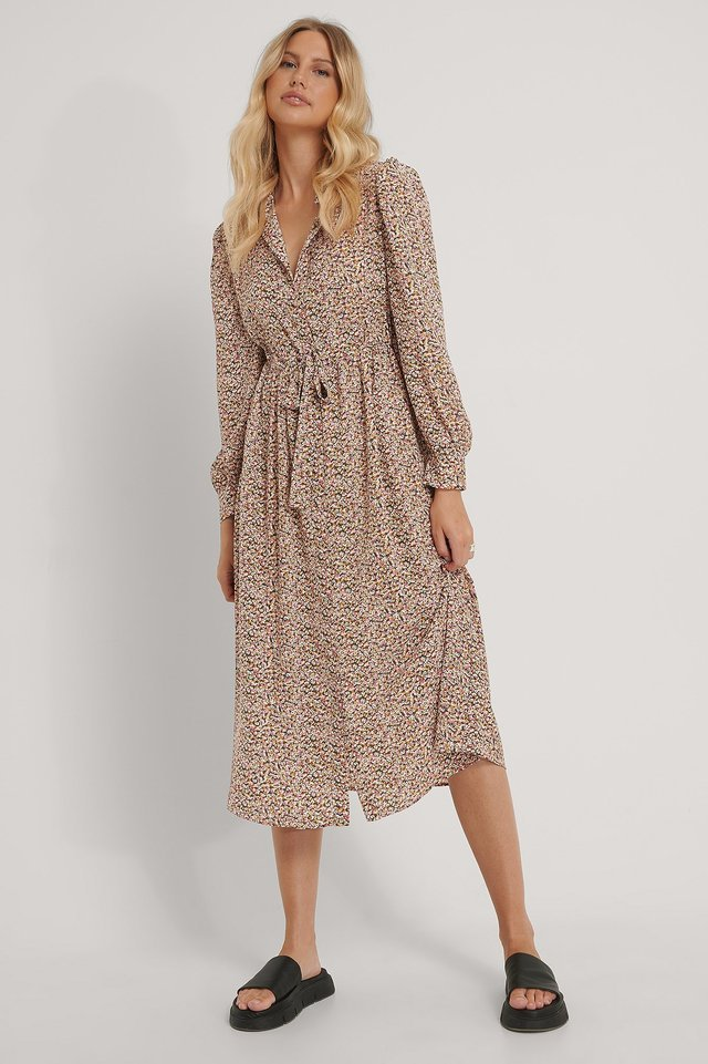 Hidden Ribbon Midi Shirt Dress Outfit.