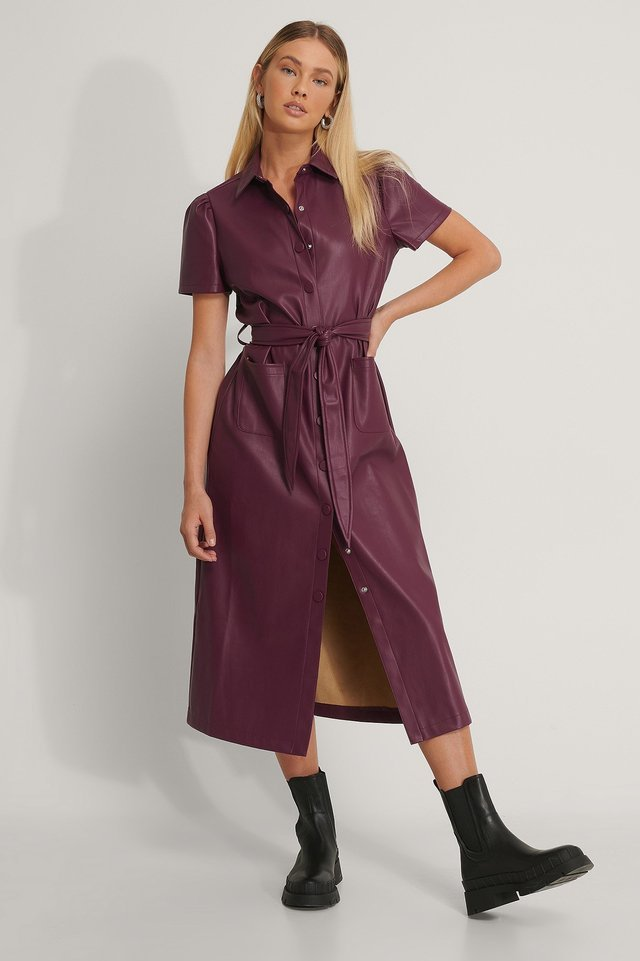 Short Sleeve PU Shirt Dress Outfit.