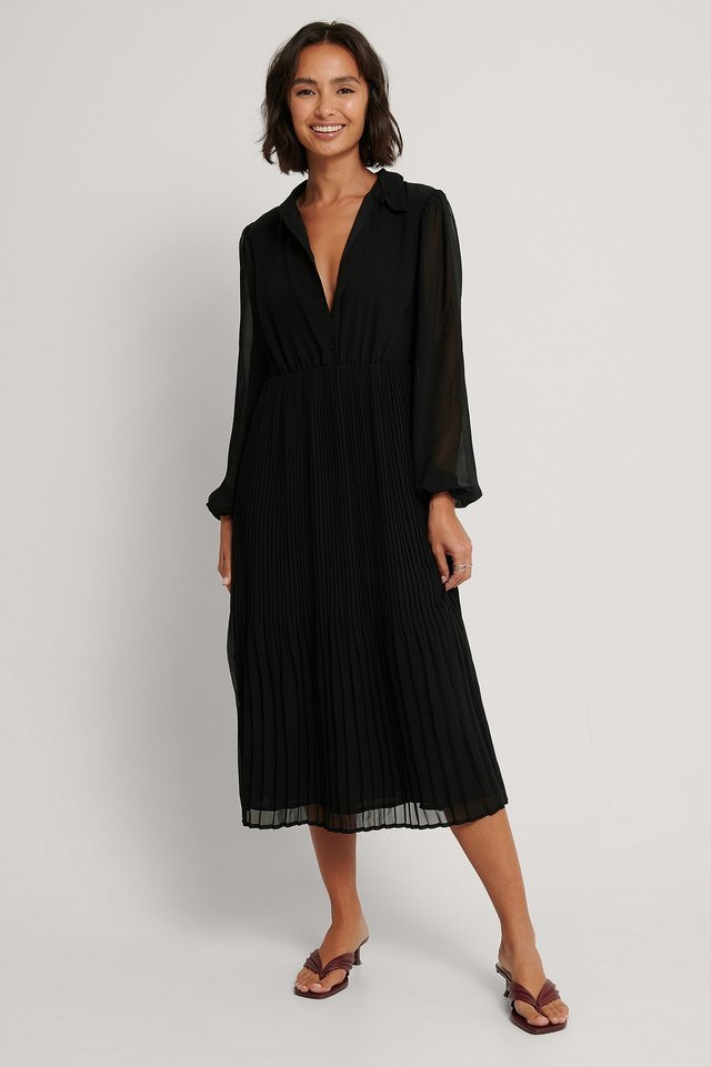Pleated LS Shirt Dress Outfit.