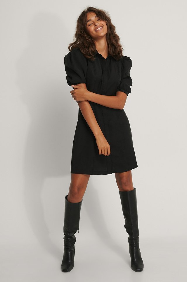 Puffy Sleeve Shirt Dress Outfit.