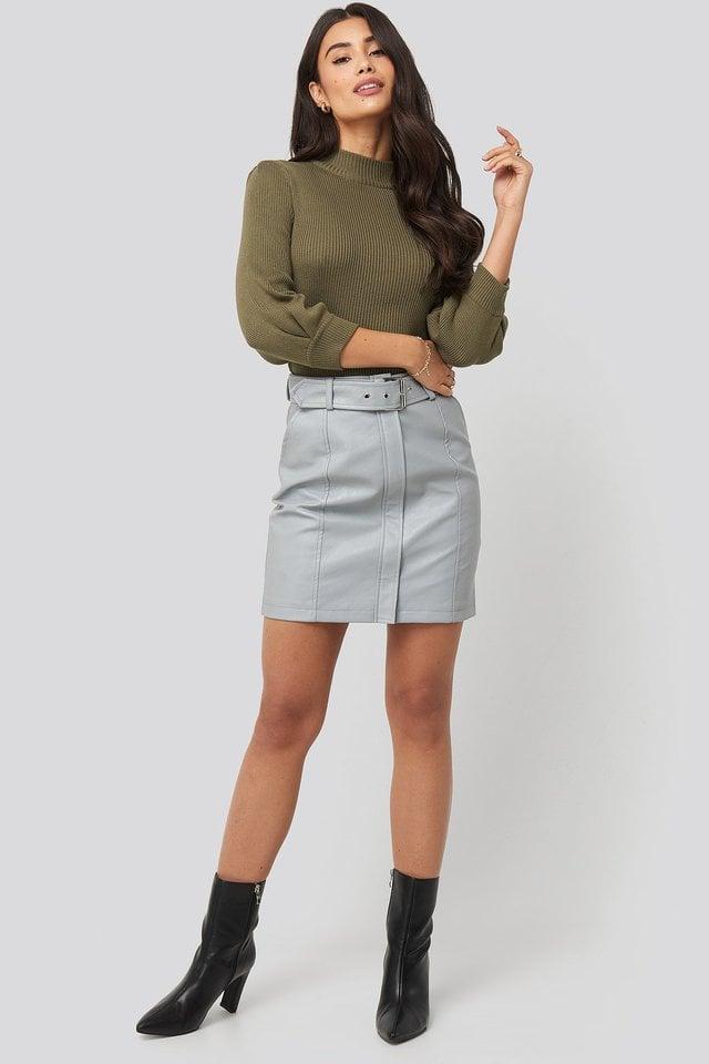Grey Belted PU Skirt