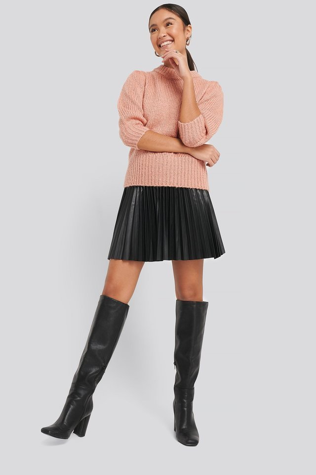 Puff LS Round Neck Knitted Sweater Outfit.