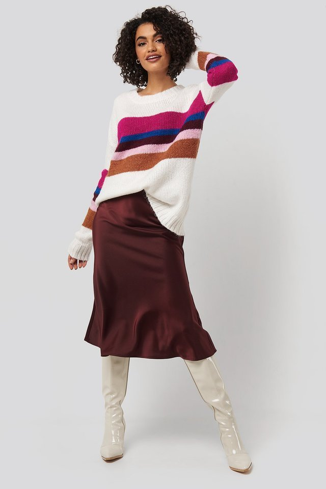 Color Blocked Knitted Sweater Outfit.