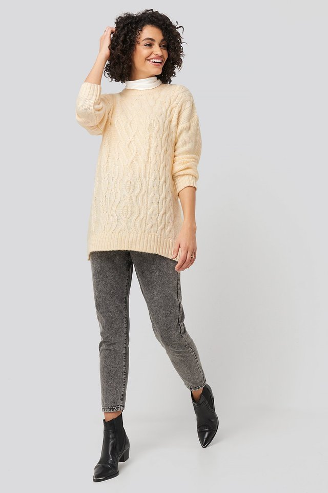 Cycling Collar Knitted Sweater Outfit.