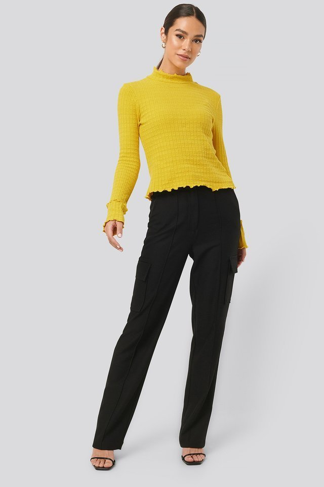Frill End Ribbed Polo Sweater Outfit.