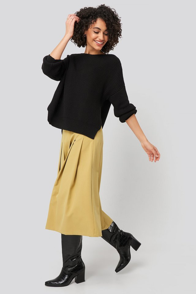 Bike Collar Slit Sweater Outfit.