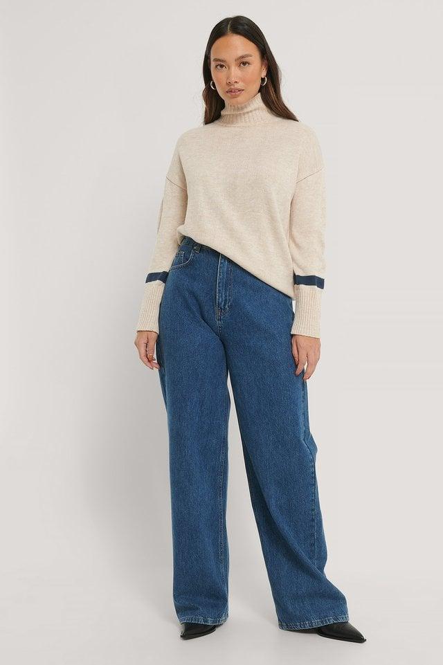 Light Beige/Navy Sleeve Detail High Neck Sweater