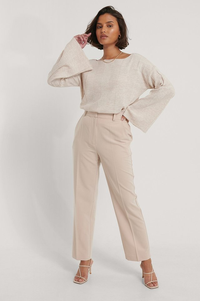 Big Ribbed Cropped Knitted Sweater Outfit.