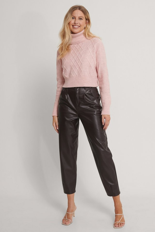 Powder Pink Cropped Knit Sweater