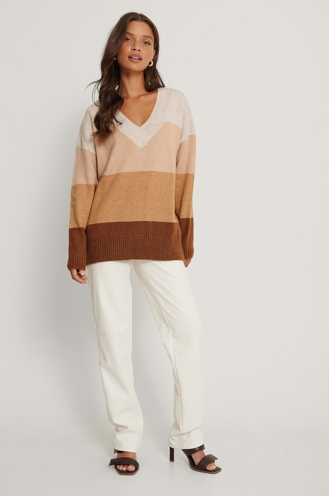V-Neck Color Block Sweater Outfit.