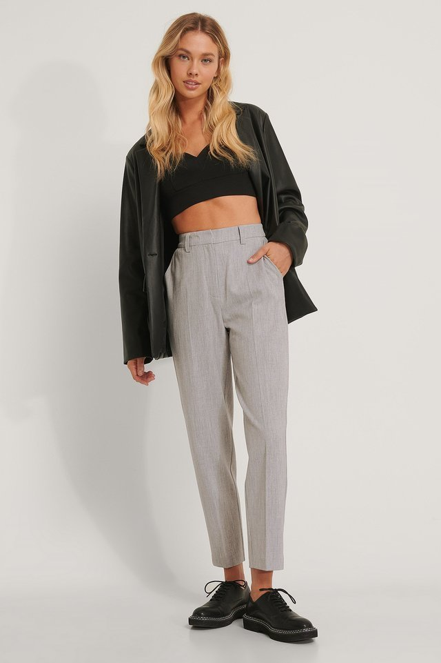 Tailored V-shape Cropped Top Outfit.