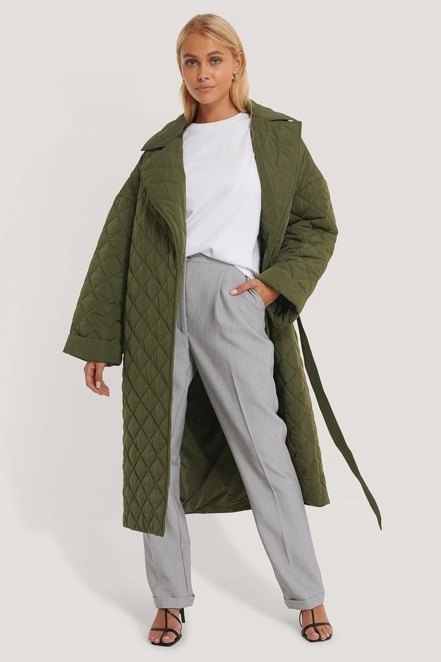 Back Slit Quilted Coat Green.