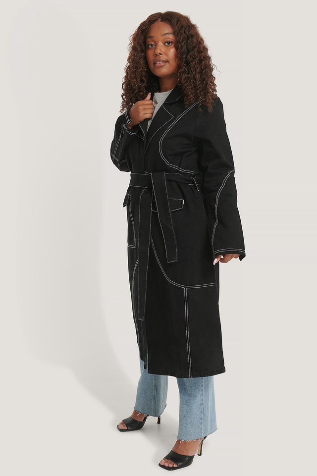 Contrast Stitch Coat Black.