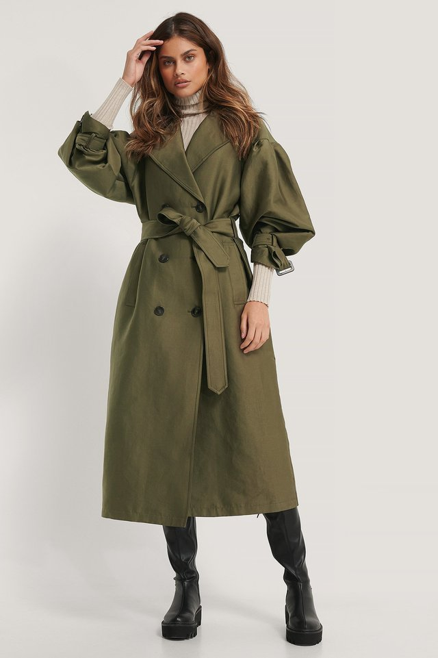 Ballon Sleeve Belted Trench Coat Green.