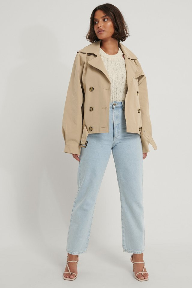Short Trench Coat Beige.