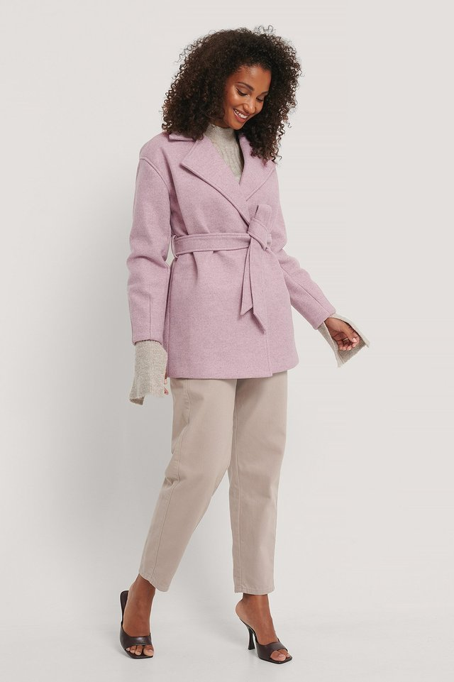 Wool Blend Belted Short Coat Pink.