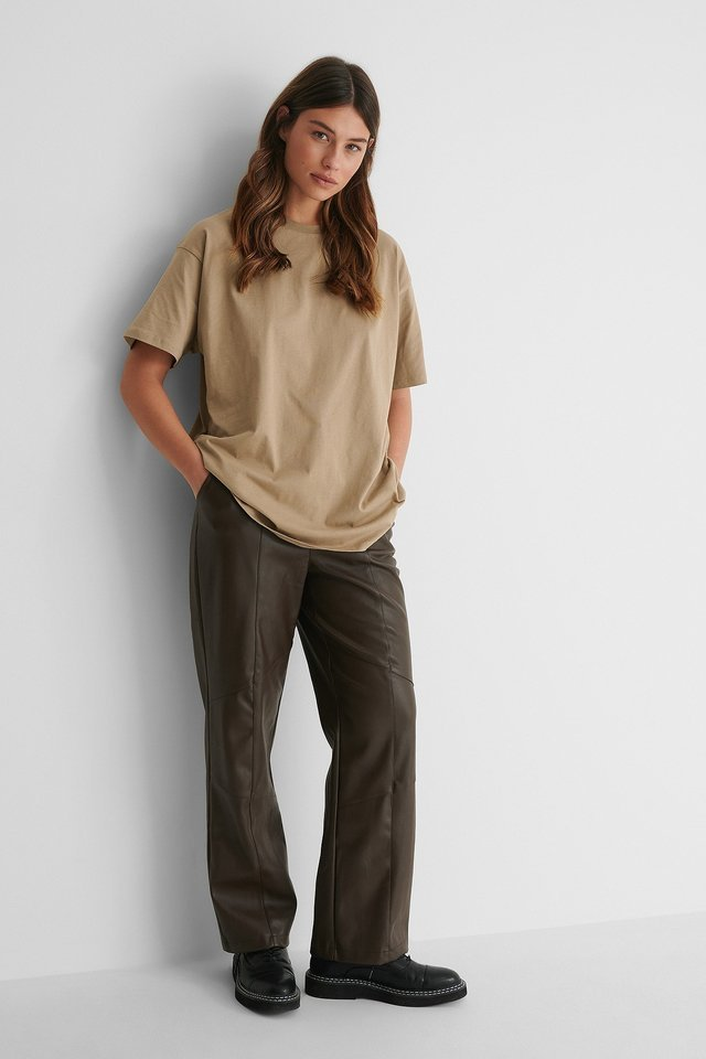 Organic Round Neck Oversized Tee Outfit.