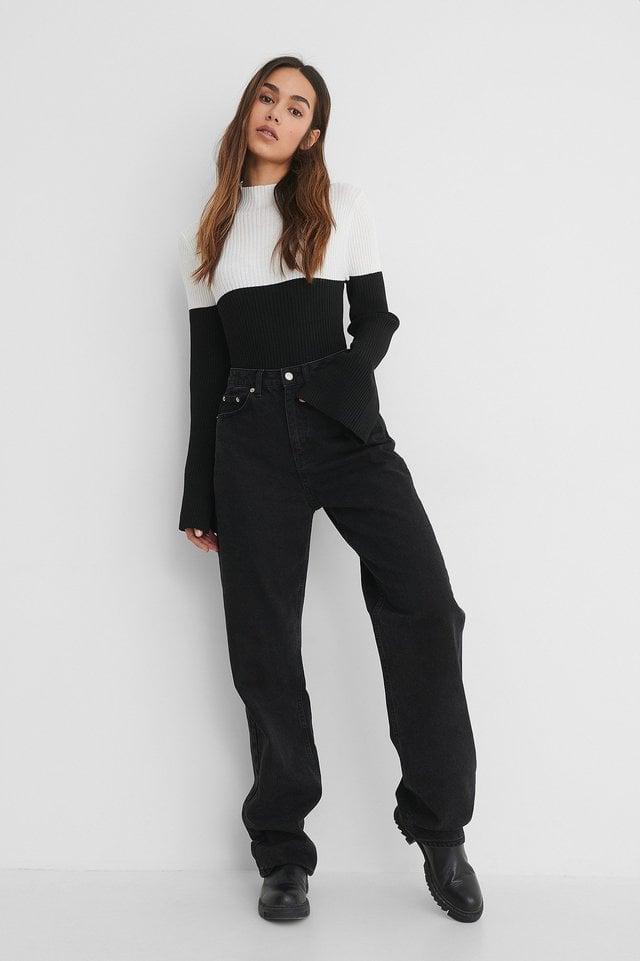 Black/White Sleeve Slit High Neck Top