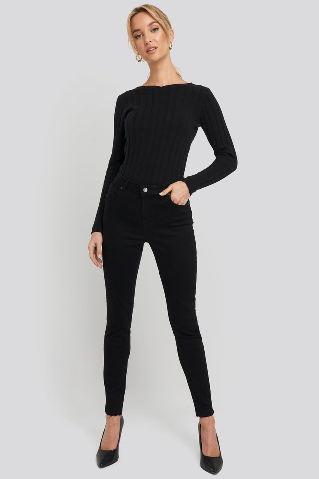 Recycled V- Shape Boat Neck Ribbed Sweater Outfit.