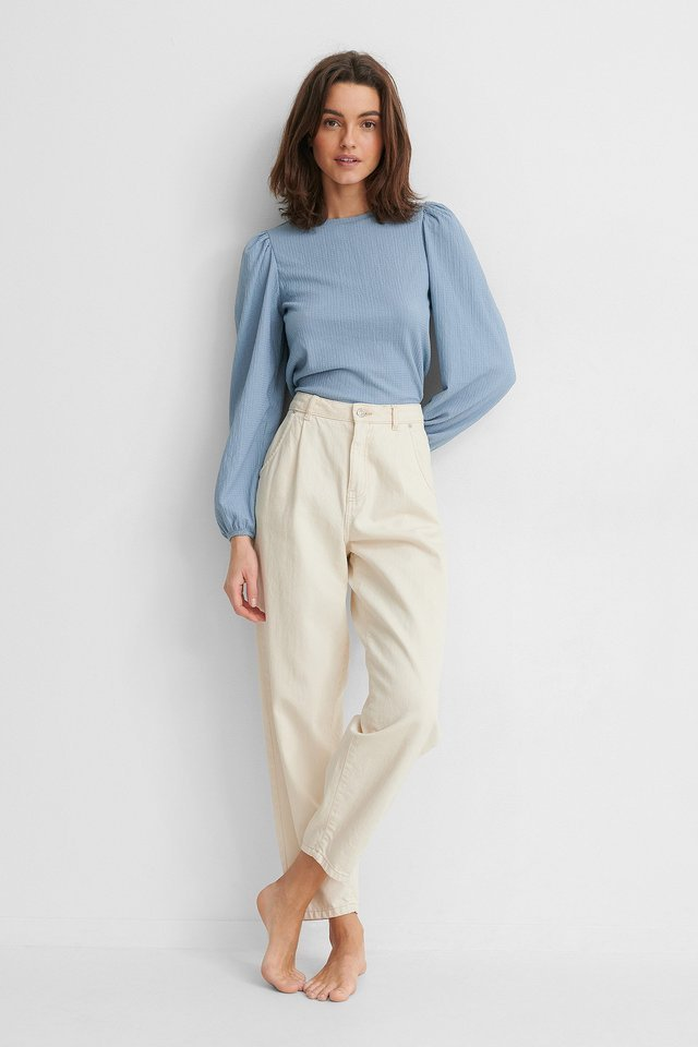 Crepe Puff Long Sleeve Top Outfit.