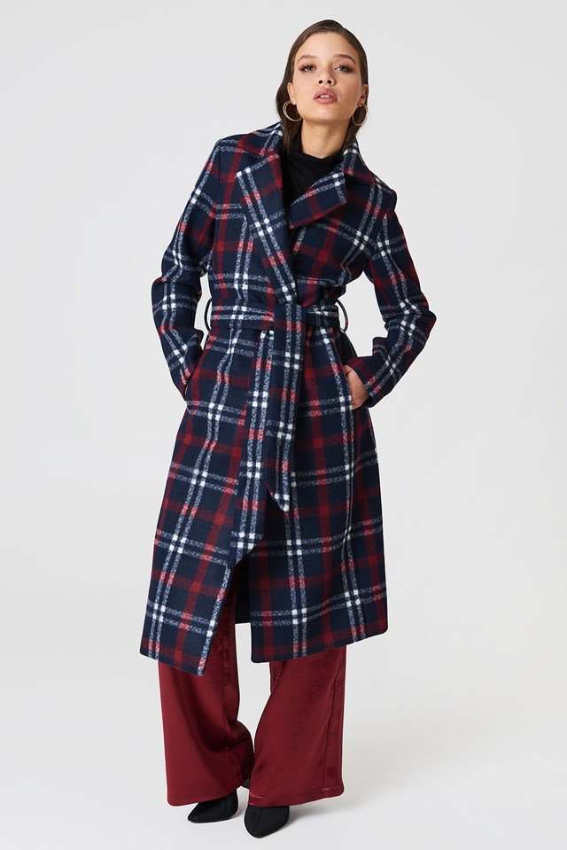 Checked Long Coat