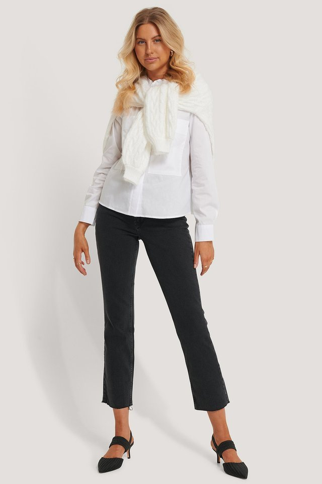 Patch Pocket Band Collar Shirt Outfit.