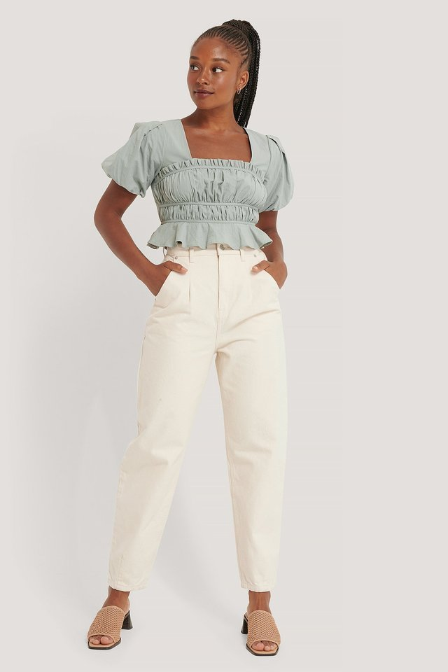 Short Sleeve Gathered Blouse Outfit.