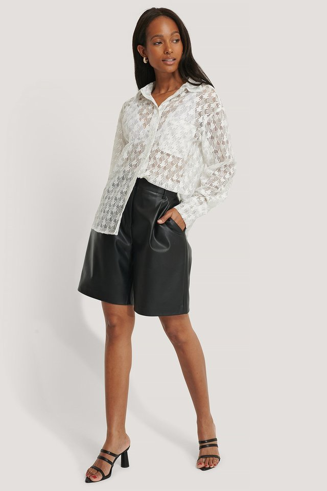 Pepita Lace Pocket Blouse Outfit.