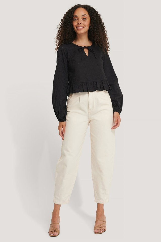 Embroidery Frill Blouse Outfit.
