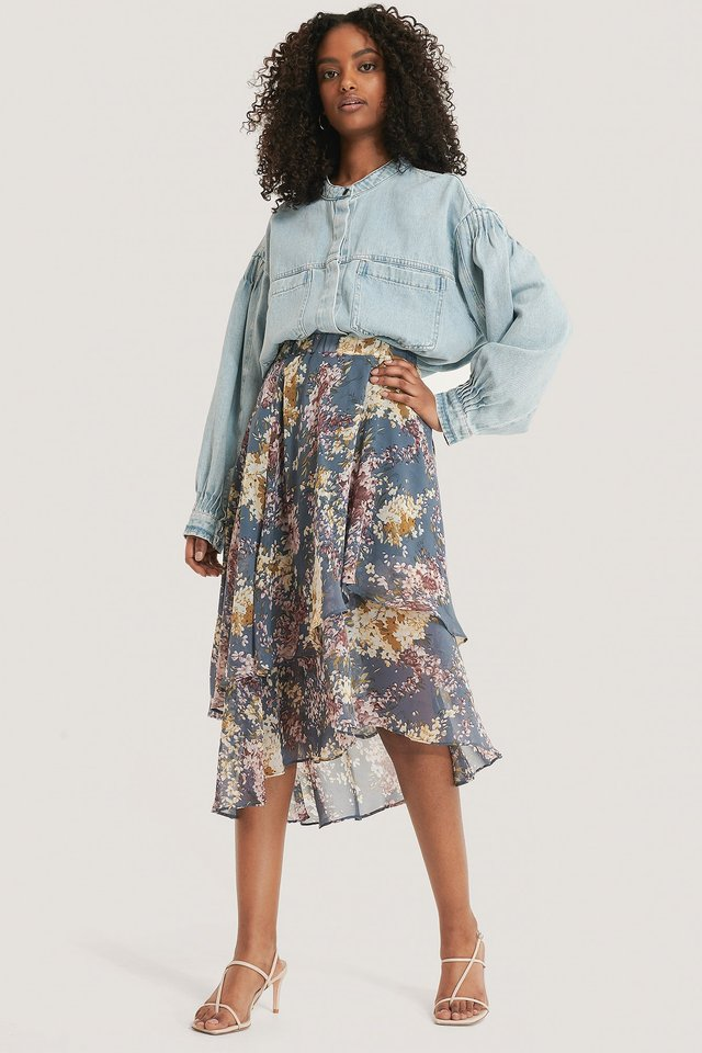 Flowy Midi Elastic Skirt Outfit.