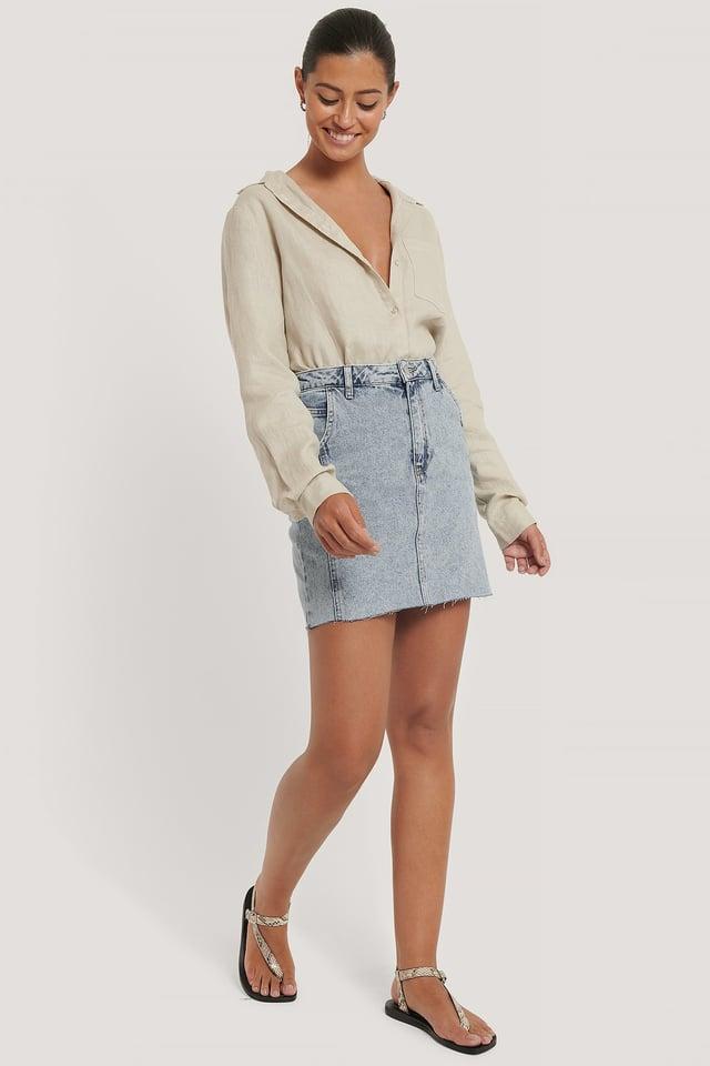 Raw Hem Denim Mini Skirt Outfit.