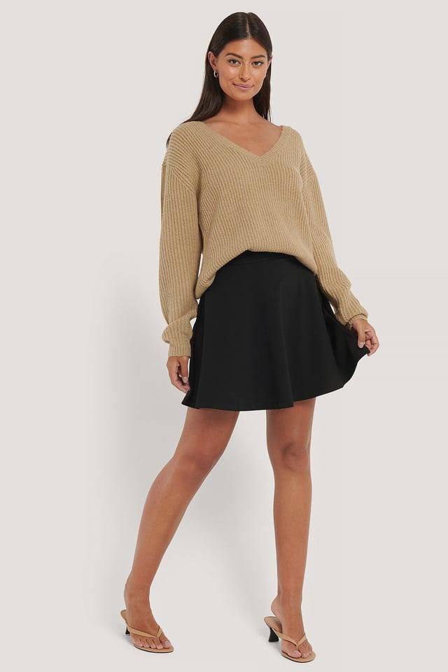 High Waist Skater Skirt Outfit.