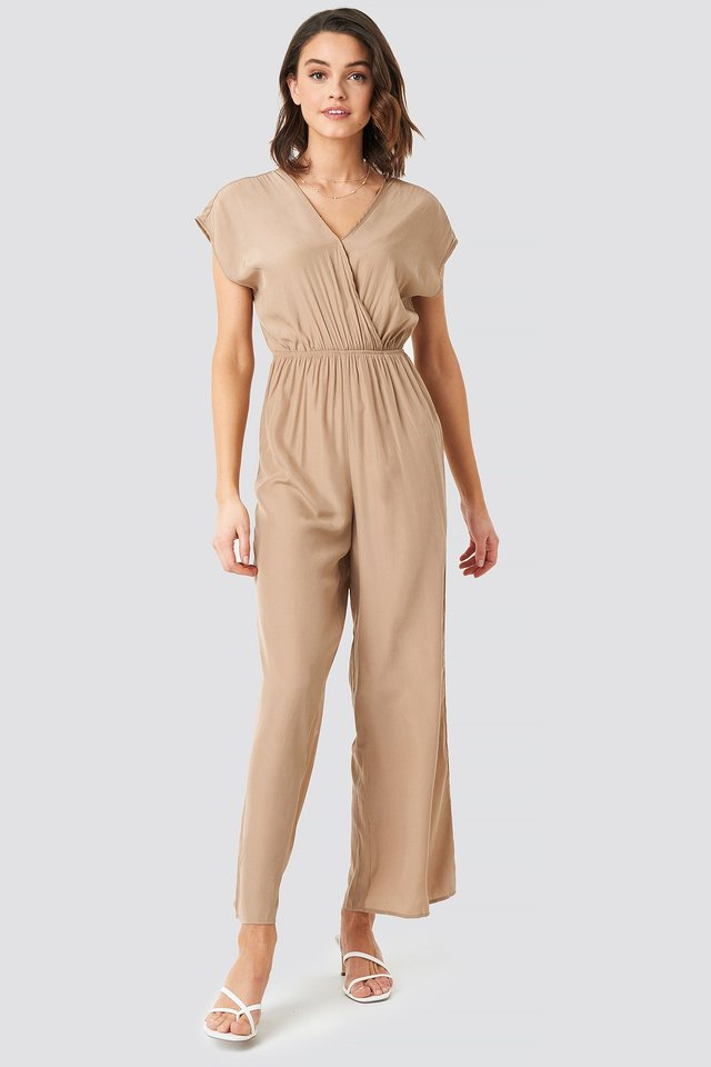 Overlap Solid Jumpsuit Outfit.