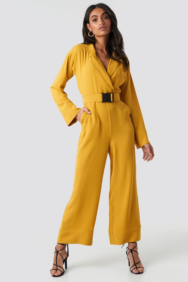 Belted Wrap Front Jumpsuit Outfit.