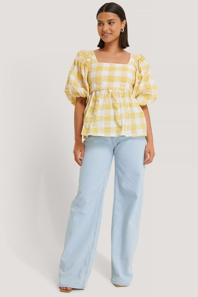 Puff Sleeve Smock Blouse Outfit.