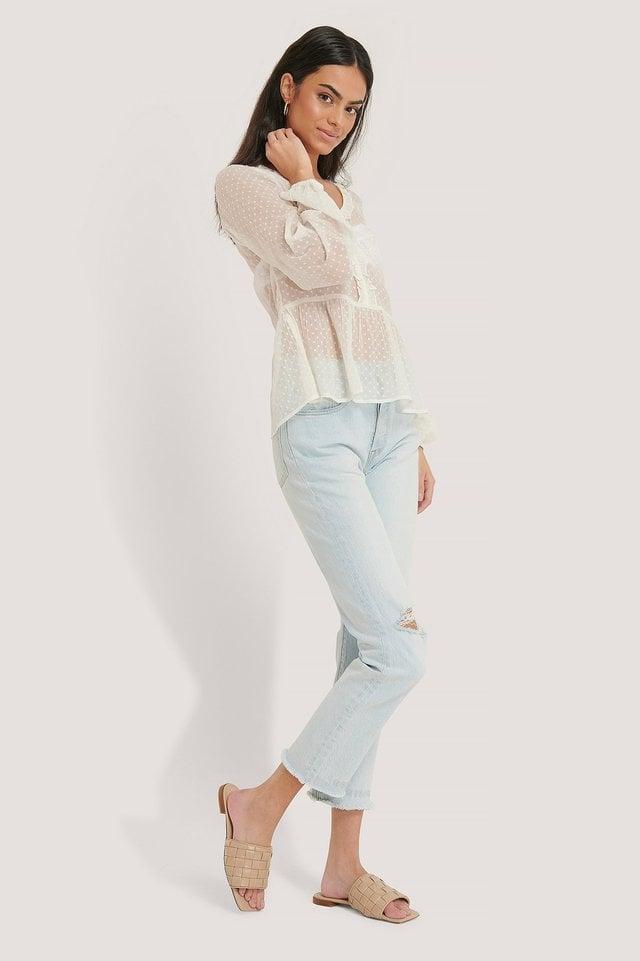 Light Blue Organic High Waist Ripped Knee Slim Jeans
