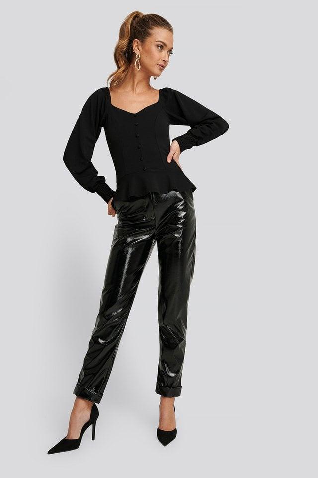 Peplum Jersey Top Outfit.