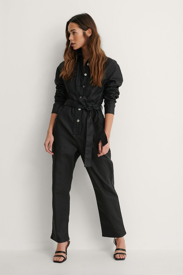 Coated Denim Jumpsuit Outfit.