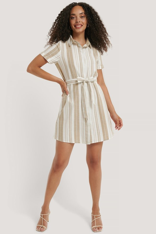 Striped Tie Waist Cotton Dress Outfit.